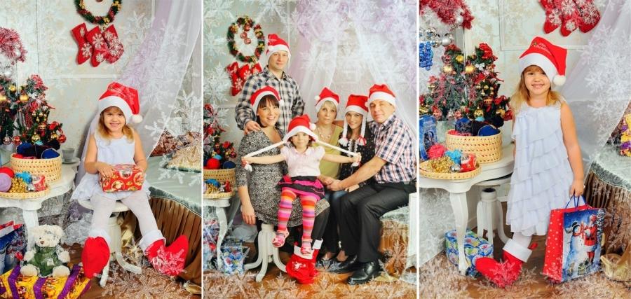 Новогодняя фотосессия семьи в студии